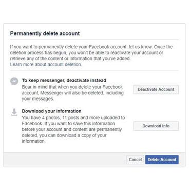 delet facebook account